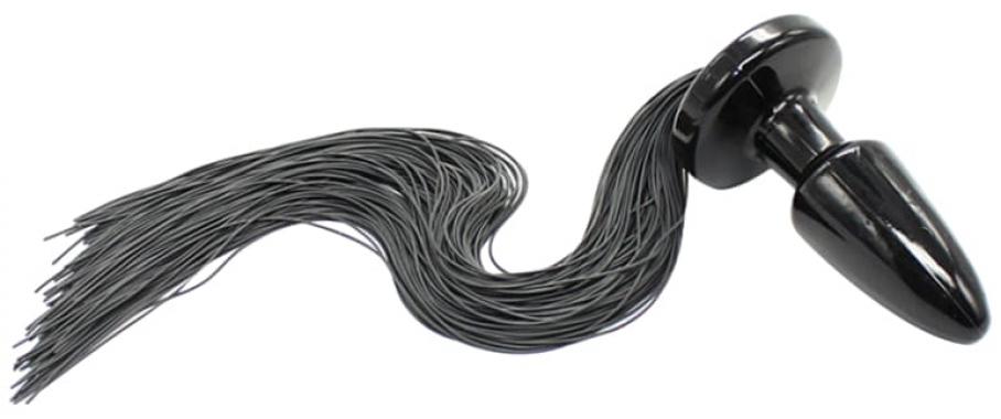 Анальная пробка с черным хвостом, 47 см