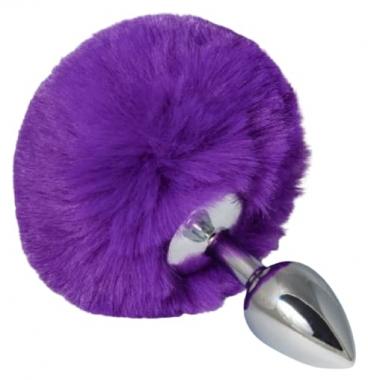 Анальная пробка с фиолетовым хвостиком, 13 см