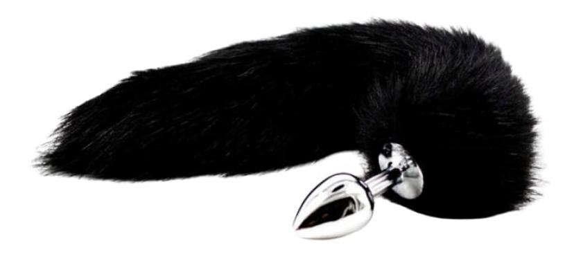 Анальный плуг с черным хвостом, 42 см