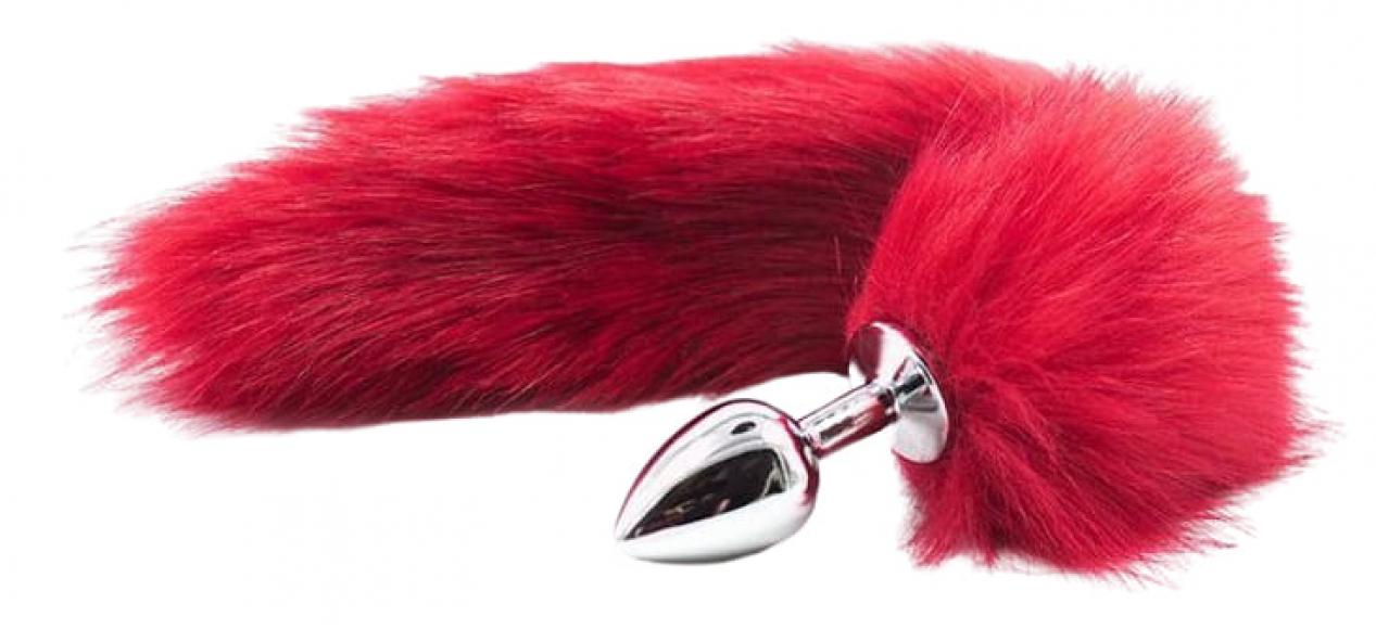Анальный плуг с красным хвостом, 42 см