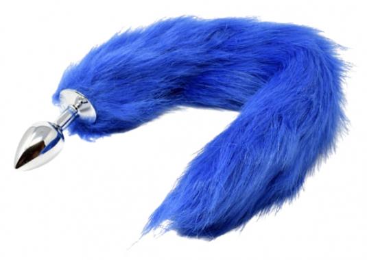 Анальный плуг с синим хвостом, 45 см