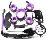 БДСМ-набор из 10-и предметов с фиолетовым мехом