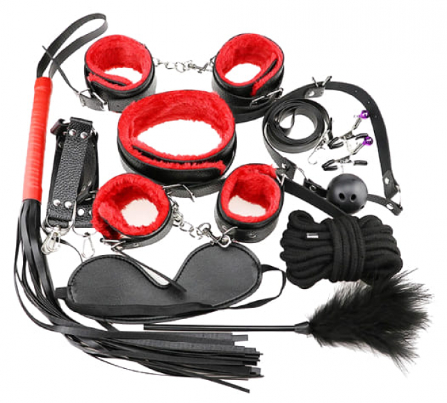 БДСМ-набор из 10-и предметов с красным мехом