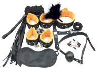 БДСМ-набор из 10-и предметов с оранжевым мехом