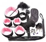 БДСМ-набор из 10-и предметов с розовым мехом