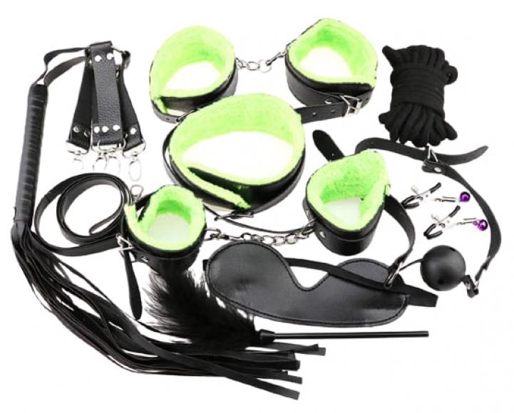 БДСМ-набор из 10-и предметов с зеленым мехом