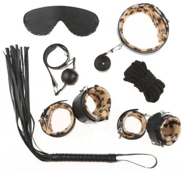 БДСМ-набор из 7-и предметов с леопардовым мехом