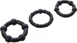 Черная помпа с 3-мя эрекционными кольцами, 23 см