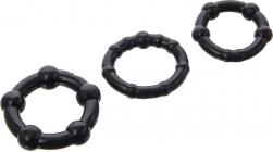 Черная помпа с 3-мя эрекционными кольцами, 27,5 см