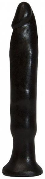 Черный анальный стимулятор без мошонки, 14 см