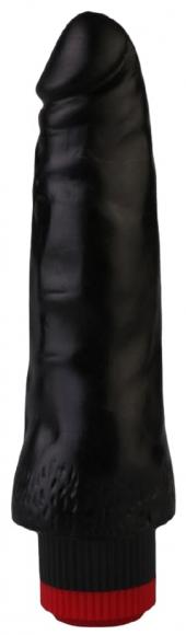 Черный гелевый вибромассажер, 17 см