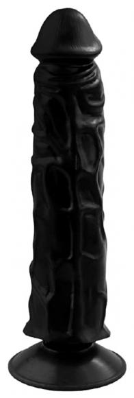Фаллоимитатор черный на присоске, 19,5 см