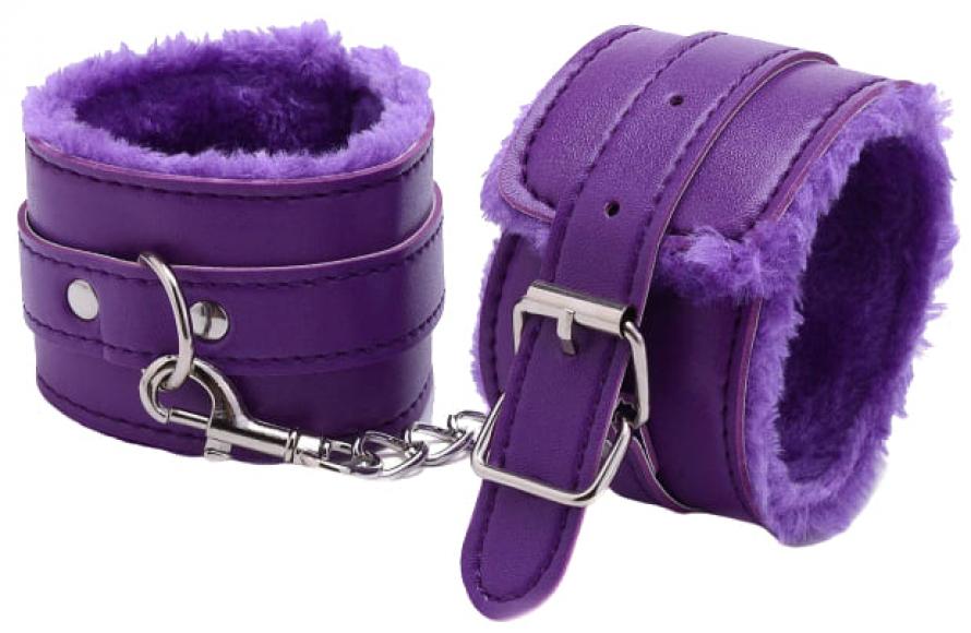 Фиолетовые наручники с мехом