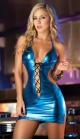 Голубое виниловое платье, р. 42