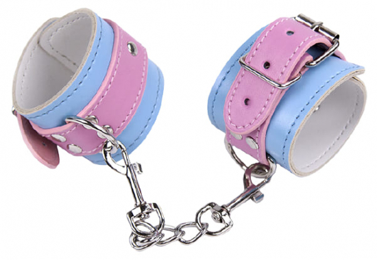 Голубые наручники с розовыми вставками