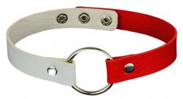 Красно-белый чокер с кольцом