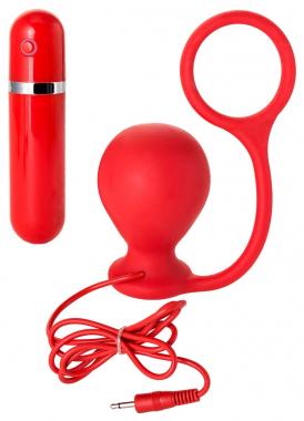 Красное кольцо с анальной вибровтулкой, Ø 4 см