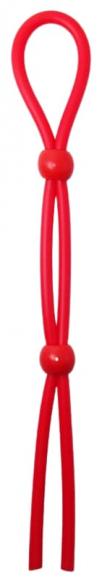 Красное лассо на пенис с двумя бусинами, 20 см