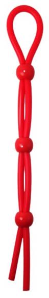 Красное лассо на пенис с тремя бусинами, 20 см