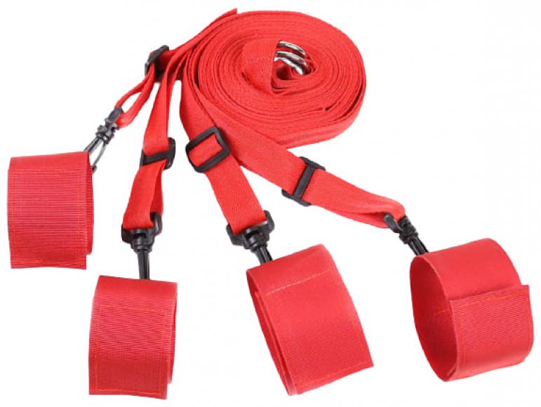 Красный набор для бондажа к кровати