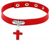Красный ошейник с крестом
