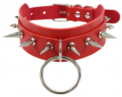 Красный ошейник с шипами и кольцом