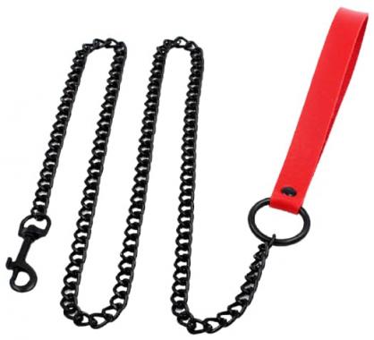 Красный поводок с цепью