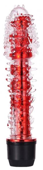 Красный вибратор с усиками, 17,5 см