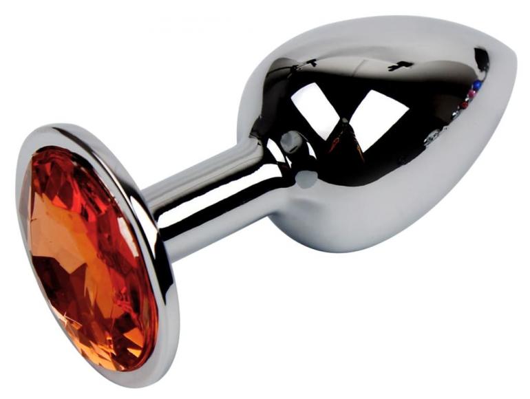 Металлическая втулка с оранжевым камнем, 7 см