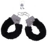 Металлические наручники с черным мехом
