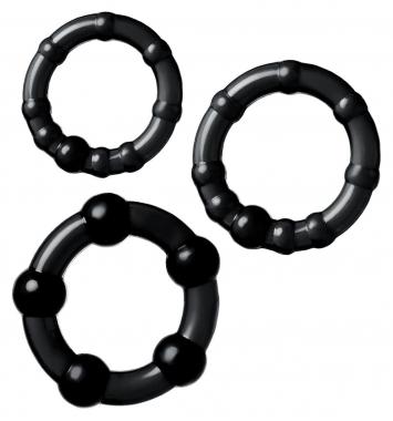 Набор колец черного цвета, 3 шт.