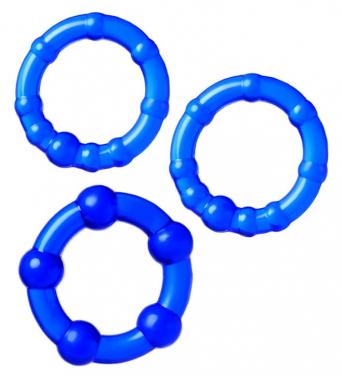 Набор колец синего цвета, 3 шт.