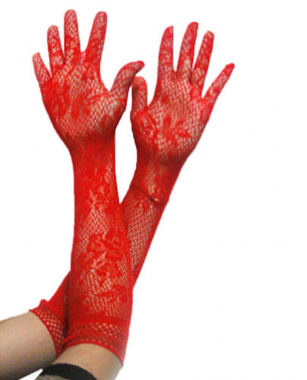 Перчатки ажурные красные