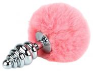 Ребристая пробка с розовым хвостиком, 15 см