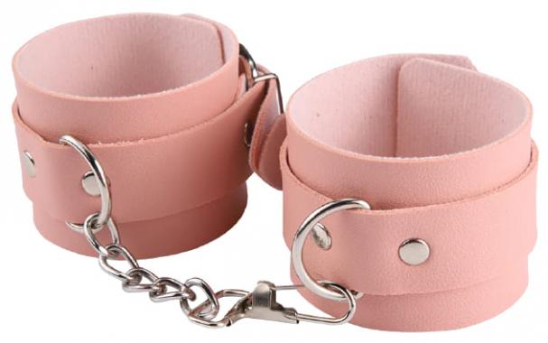 Розовые наручники из экокожи