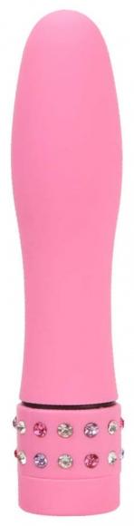 Розовый вибромассажер со стразами, 10,5 см