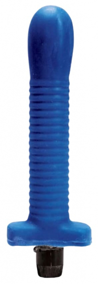 Синий многоскоростной анальный вибратор, 18 см