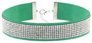 Зеленое ожерелье-чокер со стразами