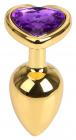 Золотистая пробка с фиолетовым камнем, 7 см
