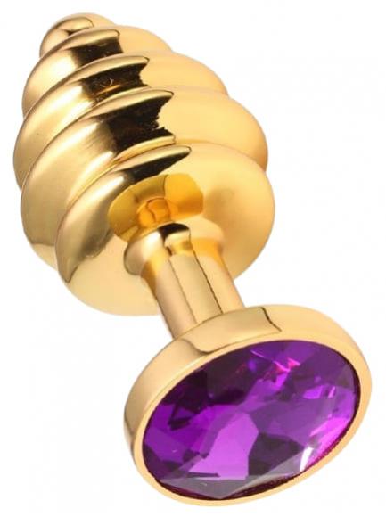 Золотистая втулка с фиолетовым камнем, 7 см